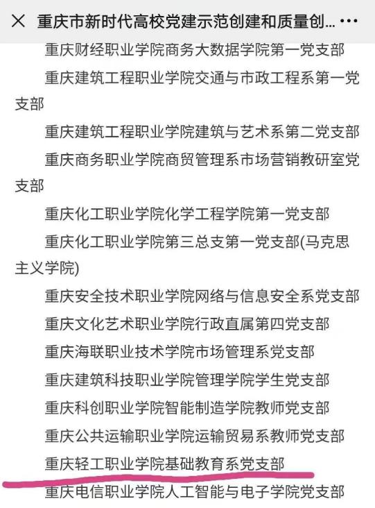 我校人文教育学院党支部入选为重庆市高校党建示范创建和质量创优工作样板党支部